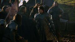 Robb greets his men