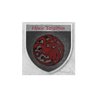 Targarienų drakonas pavaizduotas ant skydo
