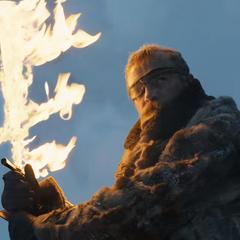 Dondarrion z płonącym mieczem.
