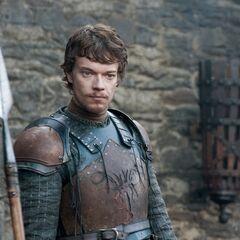 Theon przemawia do swoich ludzi.