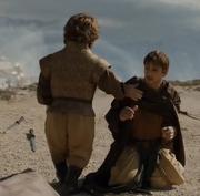 Yezzan zo Qaggaz kneels to Tyrion