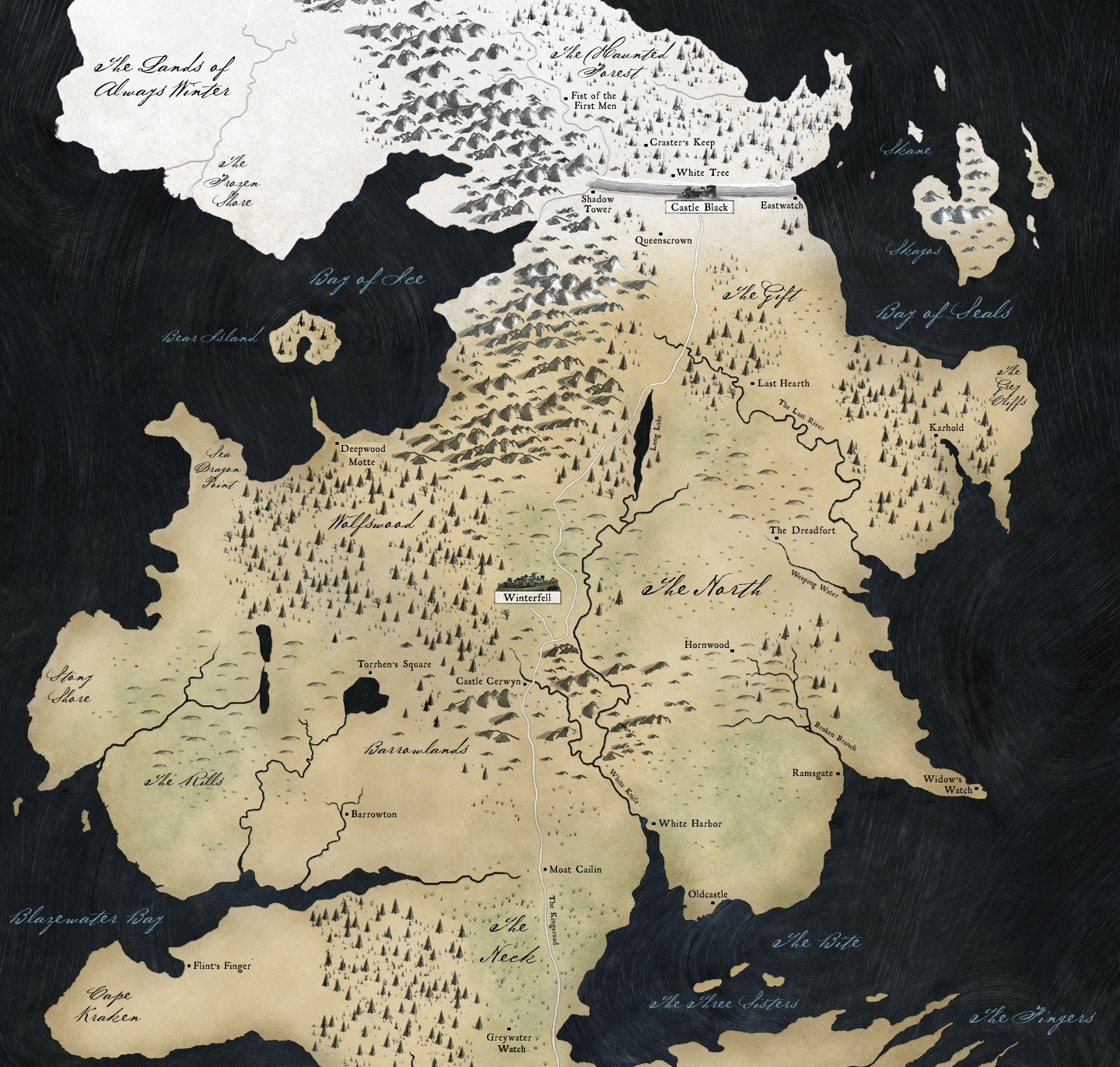 The North | Game of Thrones Wiki | FANDOM powered by Wikia on map of house stark, map of dragons, map of journeys, map of ice and fire, map of alagaesia, map of narnia, map of the lands beyond, map of federal district mexico city in, map of the undying lands, map recreated game of thrones, map of oz, map of prydain,