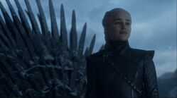 Daenerys in front of Iron Throne S8 E6