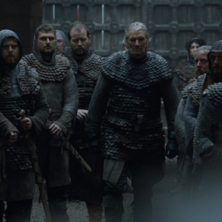 Brynden liderando um grupo de soldados da Casa Tully
