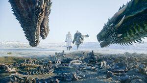 Джон, Дейнерис и драконы 8x01