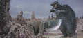 Gamera - 5 - vs Guiron - 36 - Guiron was going to cut Gamera but Gamera dodges it by jumping
