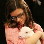 Maddie with pig ''spirit animal''