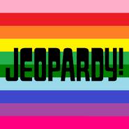 Jeopardy! Logo in Horizontal Rainbow Stripes Background in Black Letters