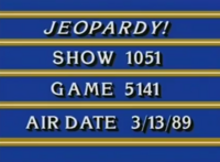 Jeopardy Production Slate March 13 1989