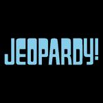 Jeopardy! Logo in Black Background in Sky Blue Letters