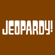 Jeopardy! Logo in Brown Background in White Letters