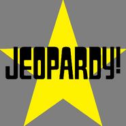 Jeopardy! Logo in Star Background in Black Letters
