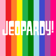 Jeopardy! Logo in Vertical Rainbow Stripes Background in White Letters