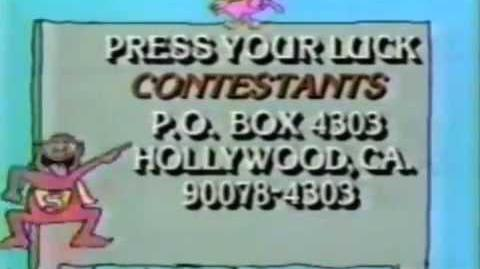 Press Your Luck contestant plug, 1984