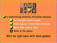 Game Show Network is Expericing Techincal Difficulties