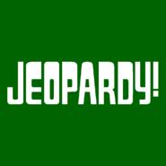 Jeopardy! Logo in Dark Green Background in White Letters