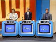 Jeopardy! 1985-1991 set with red backdrop