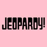 Jeopardy! Logo in Pink Background in Black Letters