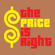 The Price is Right Logo with Trimmed Letters in Light Brown Background