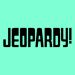 Jeopardy! Logo in Aquamarine Background in Black Letters