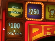 Move One Space to $750 or $100 + One Spin