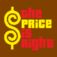 The Price is Right Logo with Trimmed Letters in Dark Brown Background