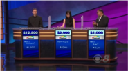 Now Jeopardy is sponsored by Centrum on the podiums