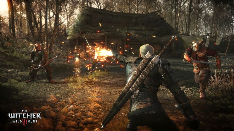 The Witcher 3 Wild Hunt-Geralt torching his enemies