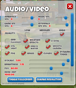 Audio Video Settings