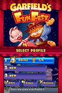 Garfield's Fun Fest profile select