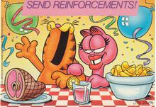 Garfield and Arlene - postcard from the 1980s