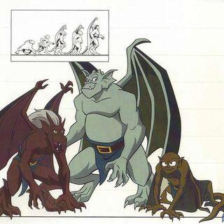 Character line up: the Manhattan Clan, Demona and Xanatos.