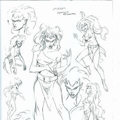 Human Demona. Production sketch by Frank Paur.