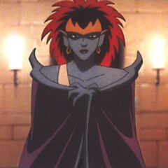Demona with cloaked wings.