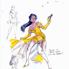 Elisa in her Belle outfit. Production sketch by Frank Paur.