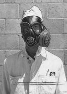 U.S. Sailor Wearing M5-11-7 Assault Gas Mask