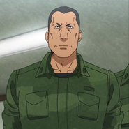 Colonel Naoki Kamo at attention receiving orders Anime episode 16