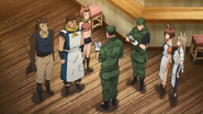 Kikuchi questioning Gaston and staff of the Alnus Co-op eatery, Anime episode 16