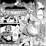 Another view of Alnus Dinning Hall and Delilah, Manga chapter 26 page 9