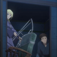 Tuka and Itami Tuka with her new compound bow Anime Episode 10