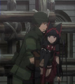 Yōji Itami carries Rory Mercury to safety in Italica Anime Episode 6.png