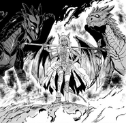 Giselle with her two juvenile dragons Mowto and Towato Manga chapter 45 page 46