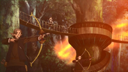 Kowan village residents fighting the Flame Dragon. Anime episode 4