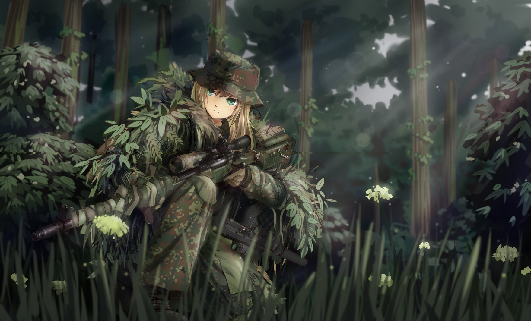 61106 Anime Girls Original Characters Military Weapon Camouflage Ghillie Suit Sniper Rifle MP7 Forest Soldier Gun TC1995 Fantasy Art Manga