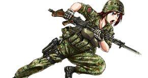 Gate Jieitai Kano Chi nite, Kaku Tatakaeri Shino Kuribayashi rifle bayonet charge