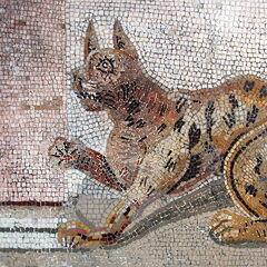 Mosaico antiguo de un gato