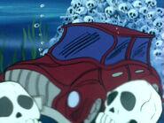 Carro suspicaz na água
