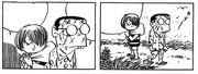 Kitaro encontrando o garoto arranhado