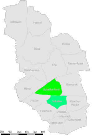 Karte Gelsenkirchen Schalke gesamt