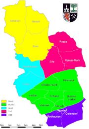 Karte Gelsenkirchen Stadtbezirke
